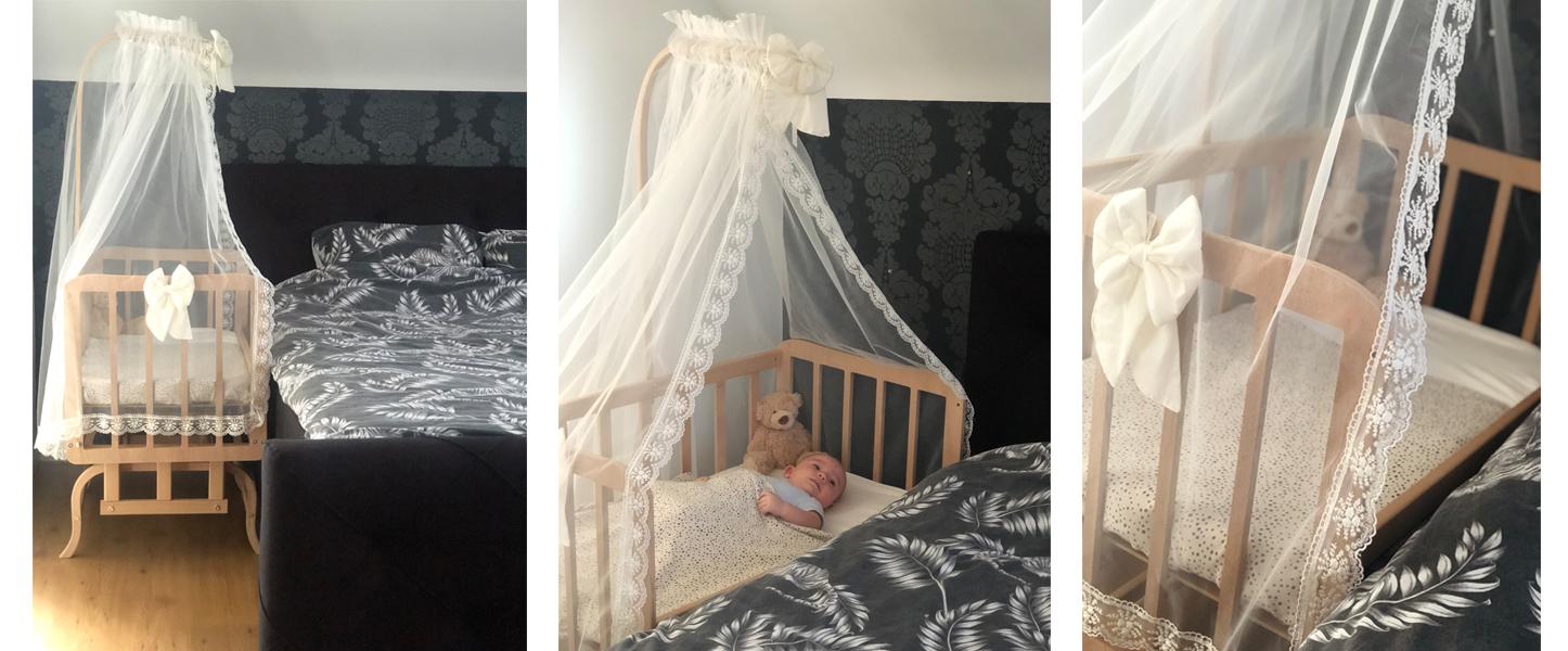 De co sleeper wieg van BabyRace. Co-sleeper hout, wieg naast bed, babywieg aan bed, babywieg deluxe, aanschuifbedje, aanschuifwiegje, duurzame wieg baby
