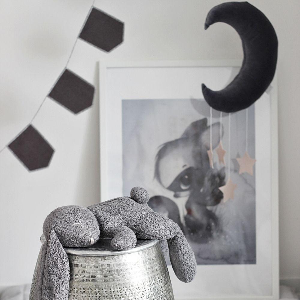 baby mobiel maan en sterren donker grijs - cotton and sweets - babyrace