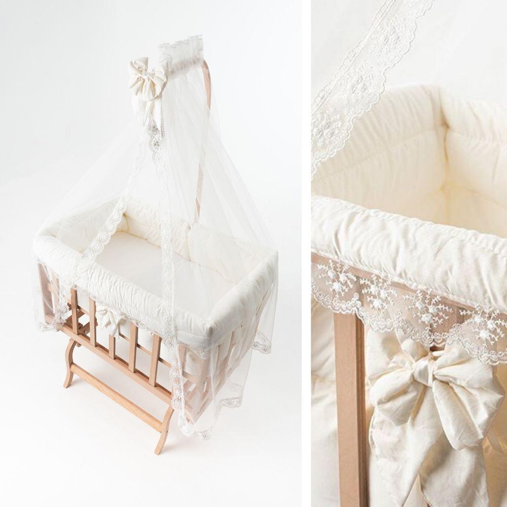 hemeltje en bekledingset - BabyRace - wieg met hemeltje - kant hemeltje